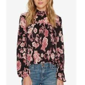 Lucky Brand Floral Smocked Mock Neck Top